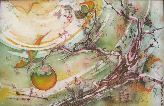 Фантазийные сюжеты ручной работы. Ярмарка Мастеров - ручная работа. Купить Батик картина. Осень. Хурма. Листьев полет.. Handmade.