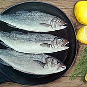 Картины и панно ручной работы. Ярмарка Мастеров - ручная работа Натюрморт с рыбой и лимонами. Handmade.