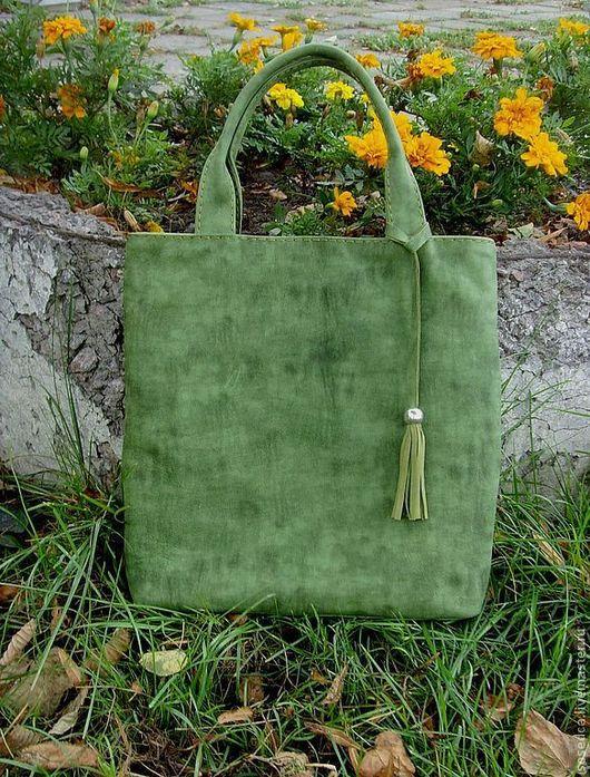 Женские сумки ручной работы. Ярмарка Мастеров - ручная работа. Купить Сумка -пакет зеленая. Handmade. Женская сумка, зеленый