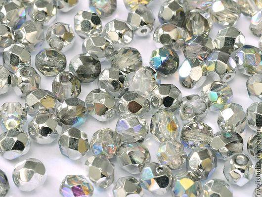 Для украшений ручной работы. Ярмарка Мастеров - ручная работа. Купить Чешские граненые бусины 4 мм Silver rainbow Fire polished beads. Handmade.