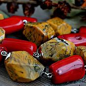 Украшения handmade. Livemaster - original item Necklace of large stones of Jasper and coral
