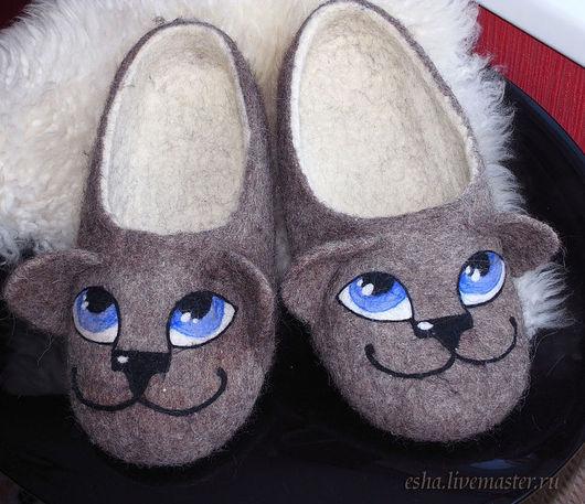 валяные тапочки, коты