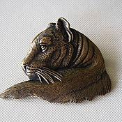 Винтаж handmade. Livemaster - original item Brooch by JJ TIGER. Bronze tone. Handmade.