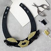 Украшения handmade. Livemaster - original item Necklace in felt with Golden eyes and lips. Handmade.