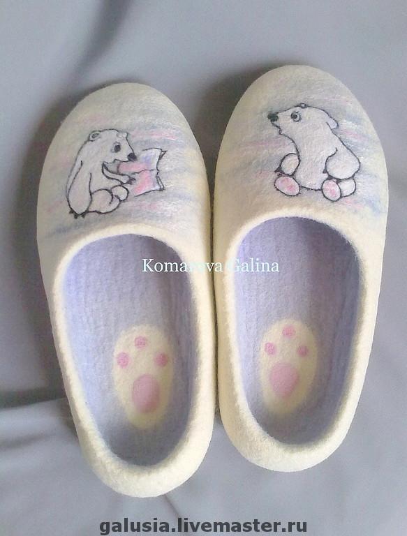 felted Slippers `Umka` women's felted Slippers