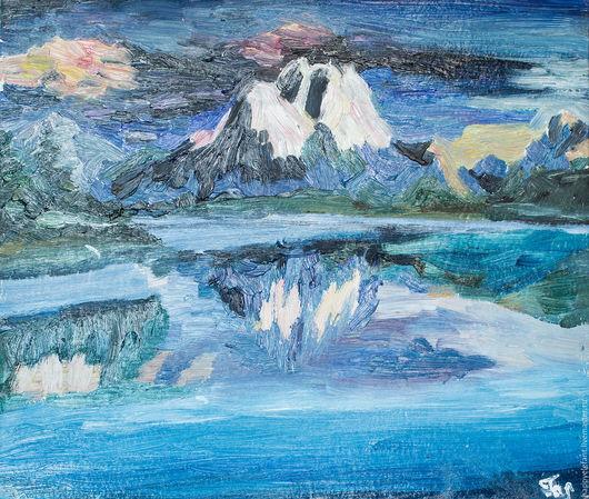Пейзаж ручной работы. Ярмарка Мастеров - ручная работа. Купить Горное озеро, картина маслом. Handmade. Синий, горы