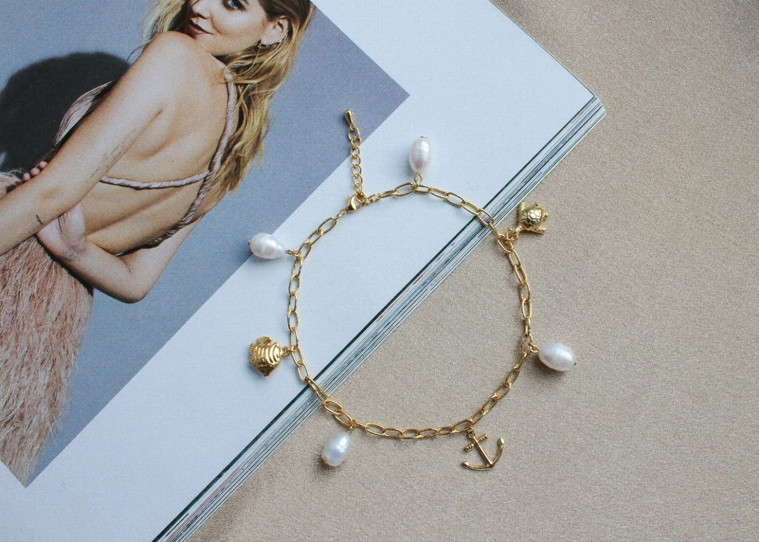 Metal anklet with Pearl's, Foot Jewelry, Ufa,  Фото №1