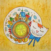Картины и панно ручной работы. Ярмарка Мастеров - ручная работа Чай с лимоном. Handmade.