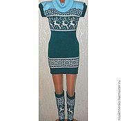 Одежда handmade. Livemaster - original item Tunic and leggings knitted with reindeer and Norwegian ornament. Handmade.