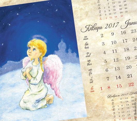 Календари ручной работы. Ярмарка Мастеров - ручная работа. Купить Календарь с ангелами 2017 Перекидной настенный календарь. Handmade.