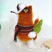Мягкие игрушки ручной работы. Ярмарка Мастеров - ручная работа Зимний кот. Handmade.