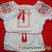 Русский стиль handmade. Livemaster - original item Embroidered shirt for girls. Handmade.
