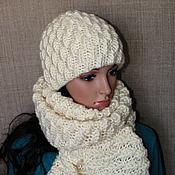 Аксессуары ручной работы. Ярмарка Мастеров - ручная работа Шапка на подкладе + шарф, авторский комплект. Handmade.