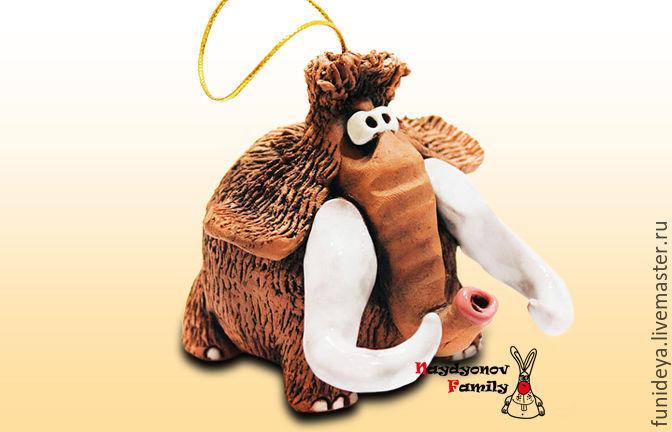 Bells handmade. Livemaster - handmade. Buy Papont, ceramic bell. The mammoth of clay.Mammoth, ceramic mammoth