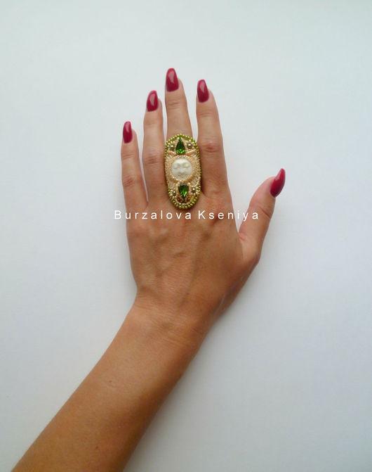 Кольца ручной работы. Ярмарка Мастеров - ручная работа. Купить Комплект 024: кольцо. Handmade. Оливковый, кольцо из бисера