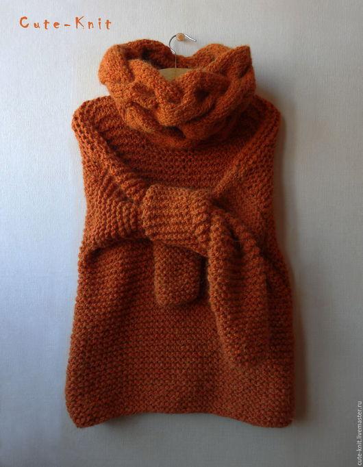 Чтобы лучше рассмотреть модель, нажмите на фото. CUTE-KNIT НатаОнипченко ЯрмаркаМастеров Купить оранжевый женский свитер крупной вязки