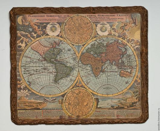 Репродукции ручной работы. Ярмарка Мастеров - ручная работа. Купить Старинная карта на дереве, панно - старинная карта. Handmade.