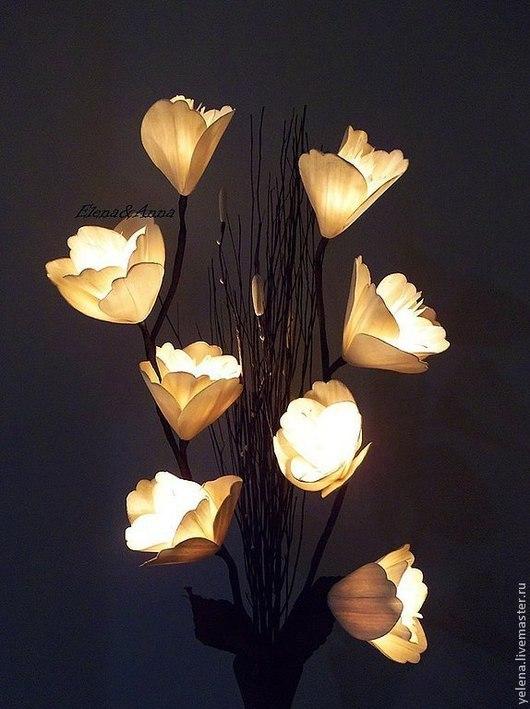 """Освещение ручной работы. Ярмарка Мастеров - ручная работа. Купить Цветы-светильник  """"Белая Магнолия"""". Handmade. Белый, свет"""