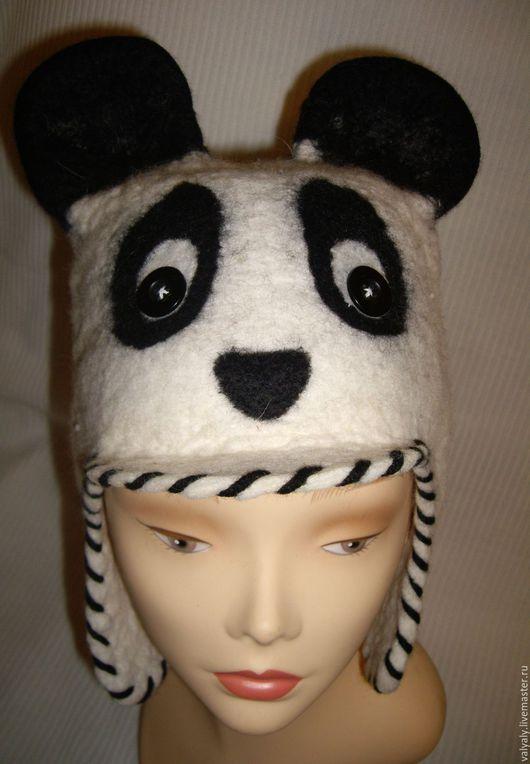 Шапки ручной работы. Ярмарка Мастеров - ручная работа. Купить Валяная шапка панда. Handmade. Белый, головной убор
