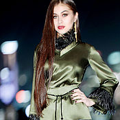 Одежда handmade. Livemaster - original item Silk blouse with feathers. Green blouse. Feather-trimmed silk blouse. Handmade.