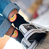 Носки ручной работы. Ярмарка Мастеров - ручная работа Носки с декором « Апельсиновое настроение». Handmade.