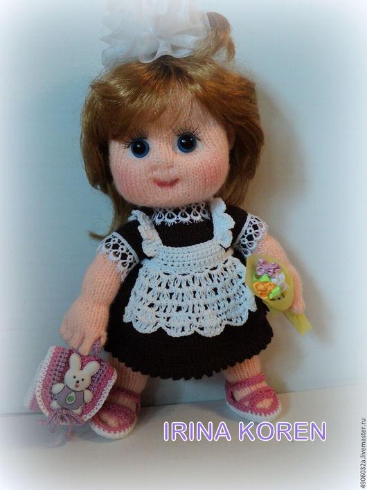 """Человечки ручной работы. Ярмарка Мастеров - ручная работа. Купить Кукла вязаная """"Первоклашка"""". Handmade. Комбинированный, первоклассница, акрил"""