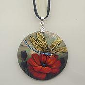 Pendants handmade. Livemaster - original item Dragonfly on poppy. Handmade.