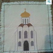Картины и панно ручной работы. Ярмарка Мастеров - ручная работа Храм (вышивка - салфетка). Handmade.