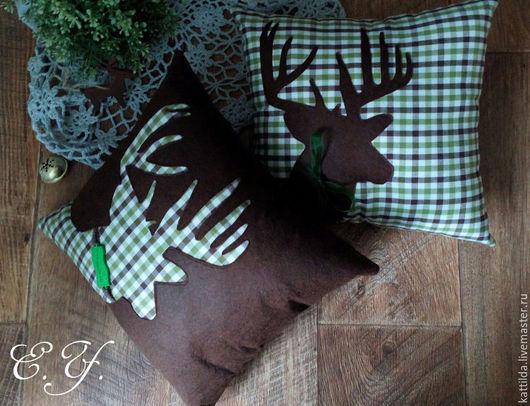 Текстиль, ковры ручной работы. Ярмарка Мастеров - ручная работа. Купить Подушки с оленями, разные цвета. Handmade. Коричневый, лось