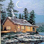 """Картины и панно ручной работы. Ярмарка Мастеров - ручная работа Картина красками """"Заснеженный дом"""". Handmade."""