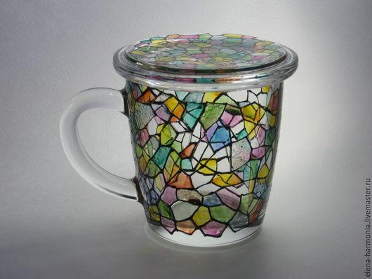 Заварочная чашка витражная роспись, кружка заварочная купить, подарок сотруднику купить. Заказать или купить чашку http://www.livemaster.ru/elena-harmonia