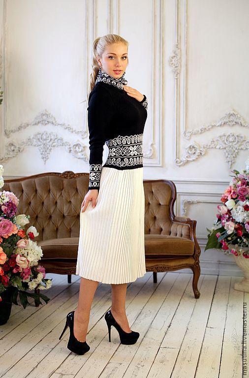 """Платья ручной работы. Ярмарка Мастеров - ручная работа. Купить Платье """"Диана"""". Handmade. Чёрно-белый, теплое платье"""