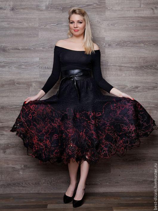 """Юбки ручной работы. Ярмарка Мастеров - ручная работа. Купить Валяная юбка """"Mon Cheri"""". Handmade. Черный, юбка валяная"""