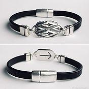 Украшения handmade. Livemaster - original item Bracelet with rune Teyvaz, silver,leather, runic mens bracelet. Handmade.