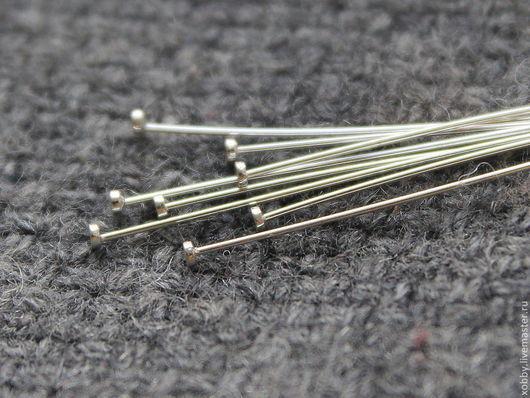 Пины из 925 серебра Пины тонкие, из проволоки 925 серебра толщиной 0,4 мм Пины 925 серебра с плоской шляпкой. Шляпка ровная, гладкая, и диаметром 1,5 мм Длина пинов из 925 серебра - 40 мм