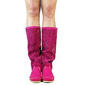 Обувь ручной работы. Ярмарка Мастеров - ручная работа Летние замшевые  сапоги PIZZO NEW (малиновые). Handmade.