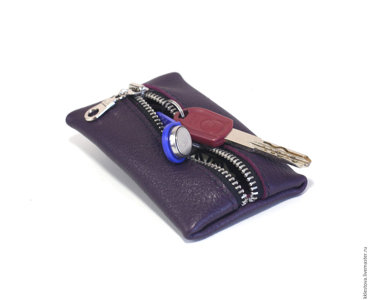 Wallets & Business Card Holders handmade. Livemaster - handmade. Buy Purple Oval - key case leather.Leather, purse