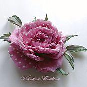 Цветы и флористика ручной работы. Ярмарка Мастеров - ручная работа Цветок из шелка розовая роза в горошек. Handmade.