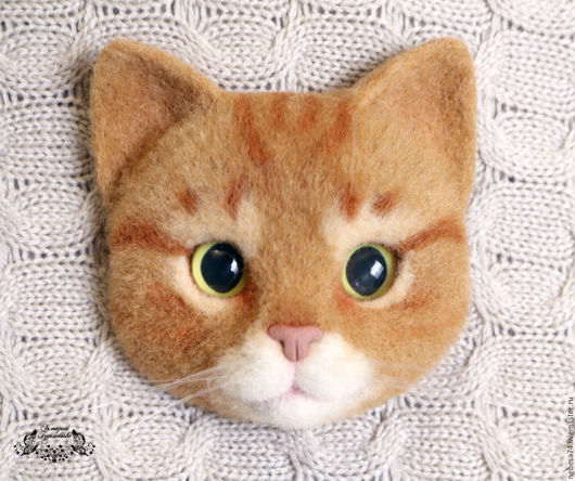 Броши ручной работы. Ярмарка Мастеров - ручная работа. Купить Брошь валяная Рыжий кот. Handmade. Брошь, брошка, котоброшка