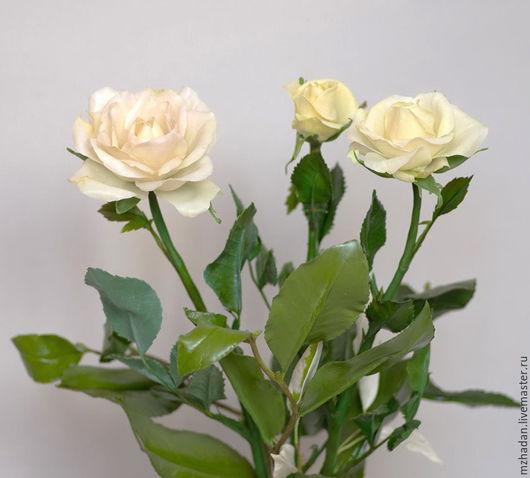 Розы,Белые розы,букет белых роз,розы из полимерной глины,розы ручной работы