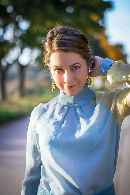 Блузки ручной работы. Ярмарка Мастеров - ручная работа. Купить Зимнее небо - шелковая блузка. Handmade. Блузка, блузка из шифона