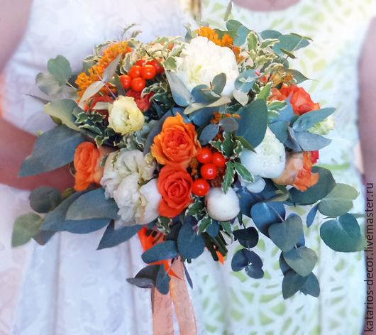 Свадебные цветы ручной работы. Ярмарка Мастеров - ручная работа. Купить Свадебный букет. Handmade. Разноцветный, невеста, свадебный аксессуар