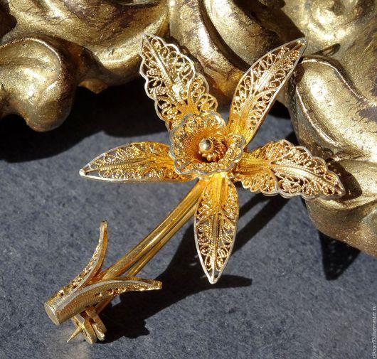 """Винтажные украшения. Ярмарка Мастеров - ручная работа. Купить Брошь серебряная """"Орхидея"""" позолоченная. Handmade. Брошь цветок, винтажное украшение"""