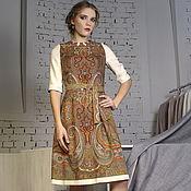 Одежда ручной работы. Ярмарка Мастеров - ручная работа Платье миди из павлопосадского платка. Handmade.