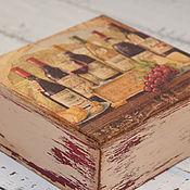 """Для дома и интерьера ручной работы. Ярмарка Мастеров - ручная работа Шкатулка """"Вино и сыр"""". Handmade."""