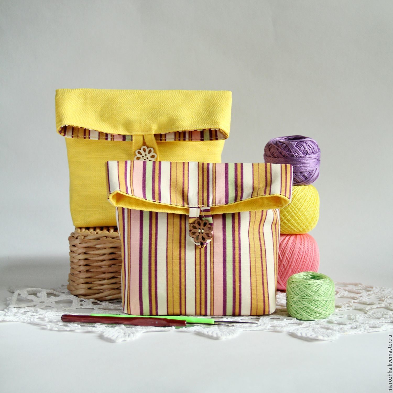 Makeup bag women`s organizer for bag, yellow, cotton