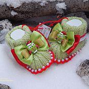 """Работы для детей, ручной работы. Ярмарка Мастеров - ручная работа Новогодние пинетки """"Merry Christmas!"""". Handmade."""