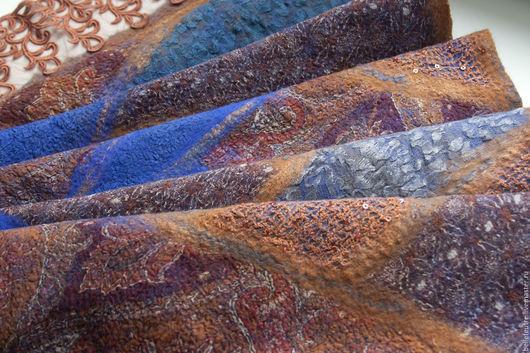 """Шарфы и шарфики ручной работы. Ярмарка Мастеров - ручная работа. Купить Валяный шарф """"Рыжее, синее, яркое..."""". Handmade."""
