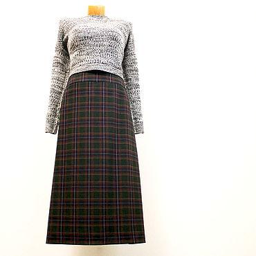 Одежда ручной работы. Ярмарка Мастеров - ручная работа Юбки: Зеленая длинная юбка в клетку из полушерсти. Handmade.