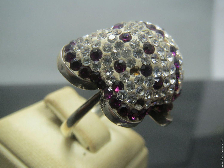 """Колье, бусы ручной работы. Ярмарка Мастеров - ручная работа. Купить кольцо """"Кокетка"""" из серебра 925 пробы с цирконами. Handmade."""